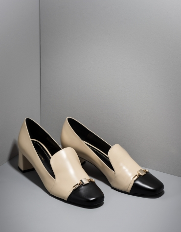Black and beige leather Cézanne pumps