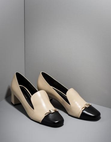 Zapato salón Cézanne en piel bicolor beige/negro