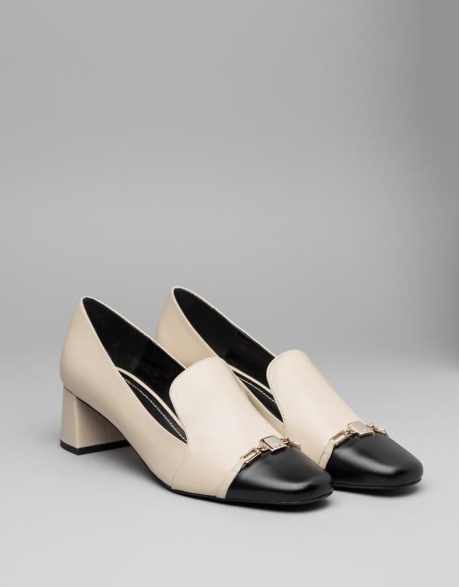 Black and beige leather Cézanne pumps