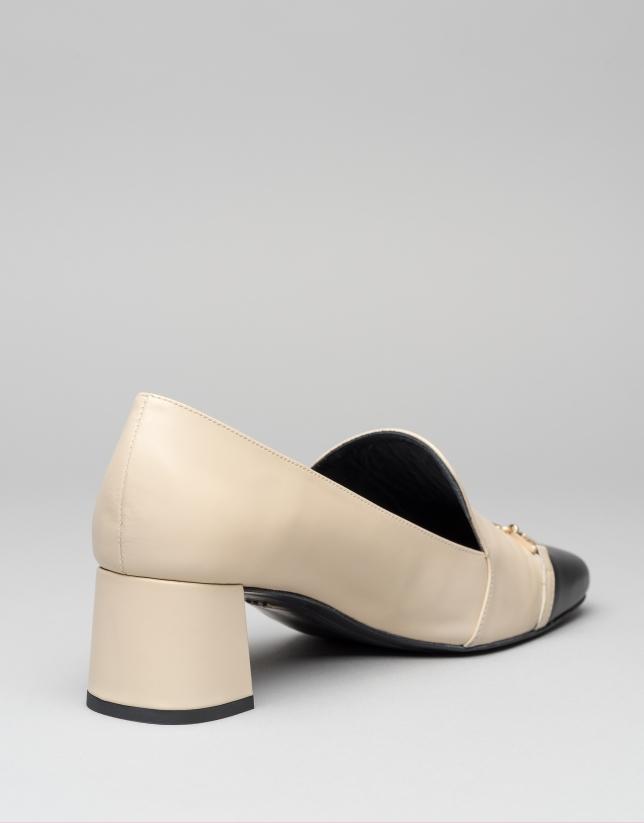 Escarpin Cézanne en cuir bicolore beige/noir