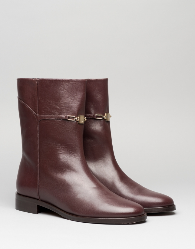 Brown leather Gauguin flat ankle boots