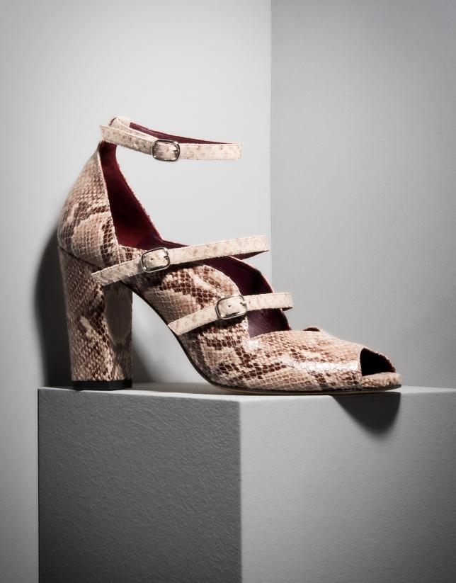 Sandale Monet en cuir imprimé serpent
