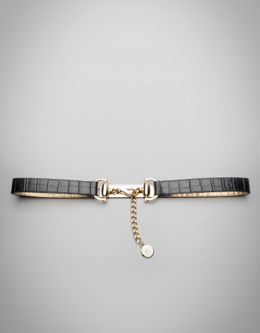 Black alligator leather belt with metallic closure