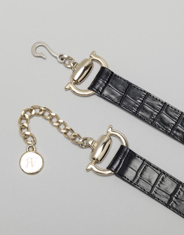 Cinturón piel coco negra con cierre metálico