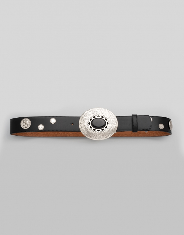 Black leather belt with coin adornments