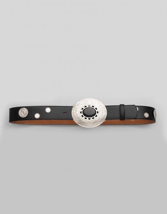 Cinturón piel negra con detalle monedas
