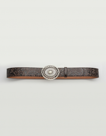 Cinturón piel marrón hebilla redonda