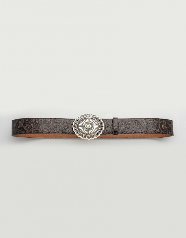 Brown leather belt with round buckle