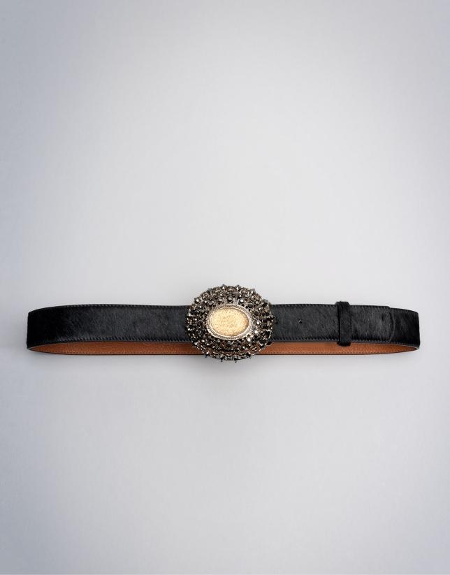 Black fur belt with jewel buckle