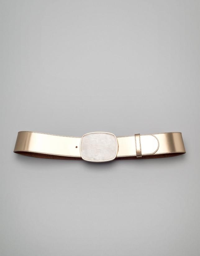 Metalized black patent leather belt