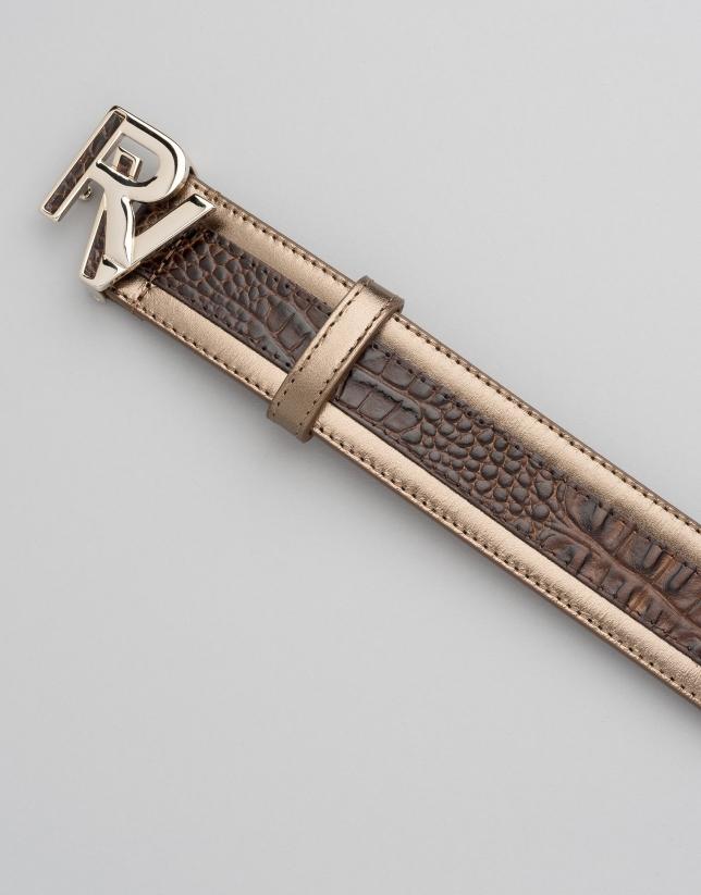 Brown alligator and black patent leather belt