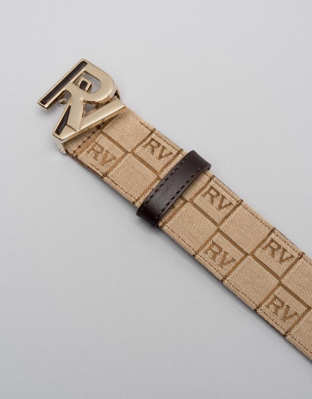 Brown RV logo canvas belt