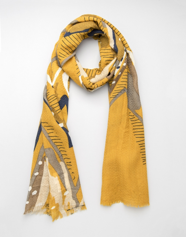 Mustard geometric print scarf
