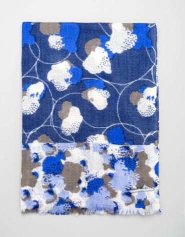 Blue floral print wool scarf