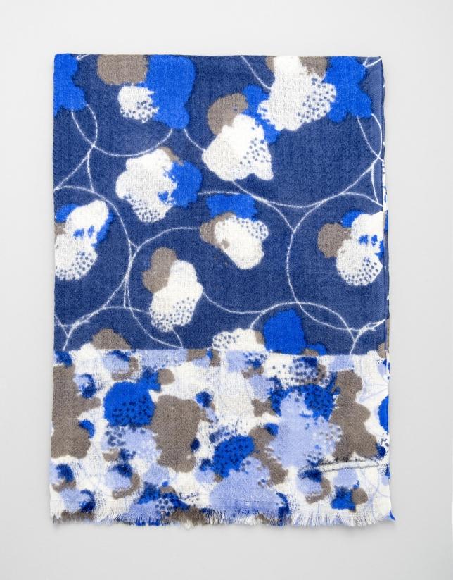 Etole en laine bleue imprimée de fleurs