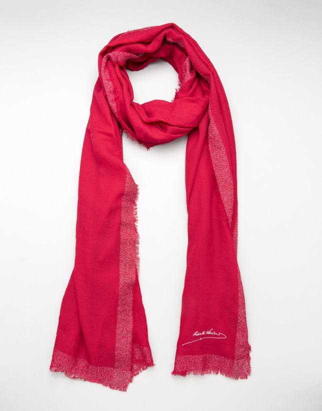 Foulard lana color rojo