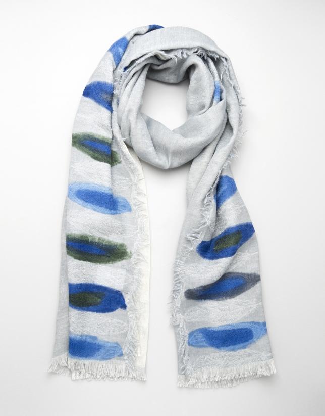 Foulard lana gris motivos azules