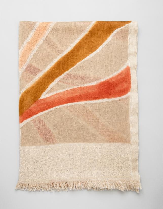 Sand-colored geometric print wool scarf