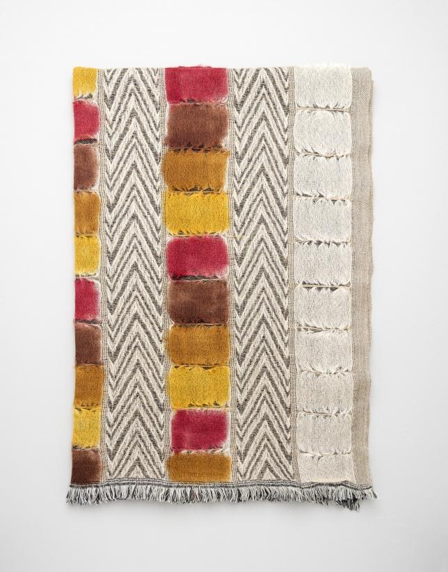 Etole en laine imprimée géométrique orange/jaune