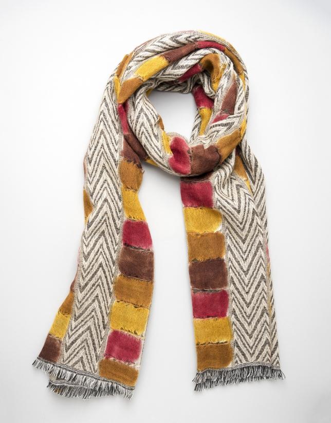 Foulard lana estampado geométrico naranja/amarillo