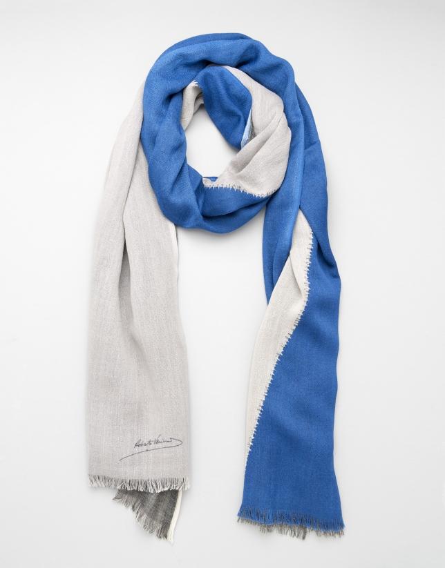 Etole en laine géométrique bleu
