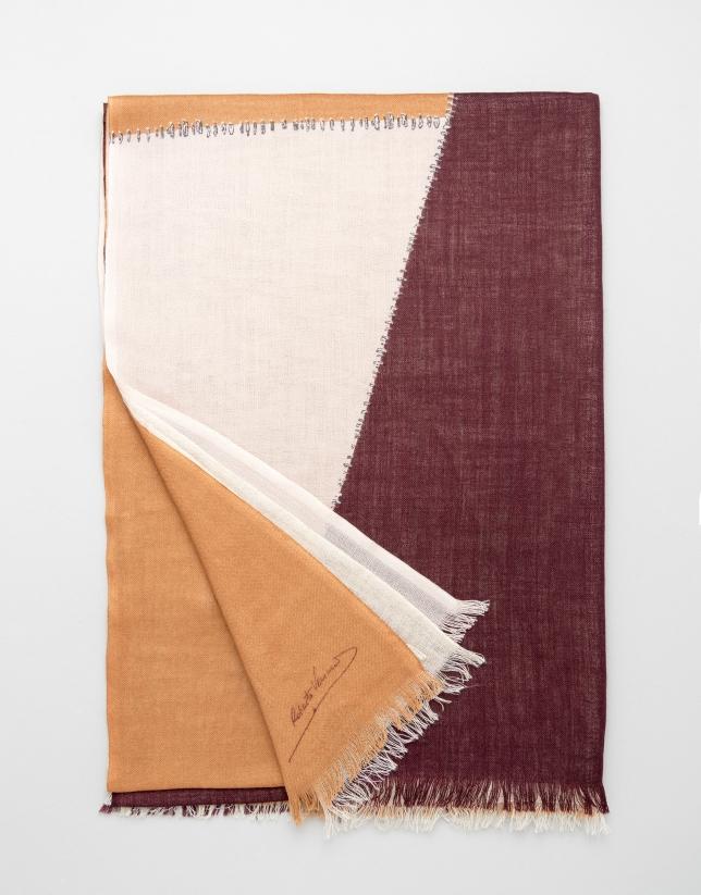 Orange geometric print wool scarf