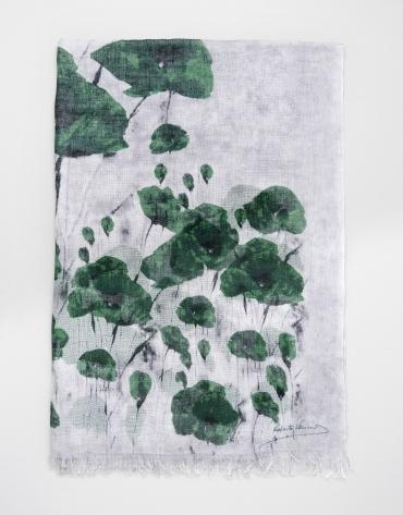 Etole en laine et soie à fleurs vertes