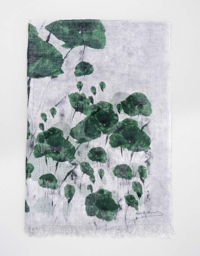 Green floral wool and silk scarf