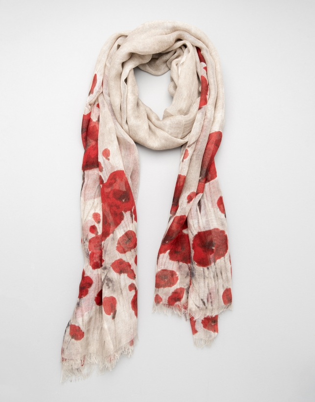 Red floral wool and silk scarf