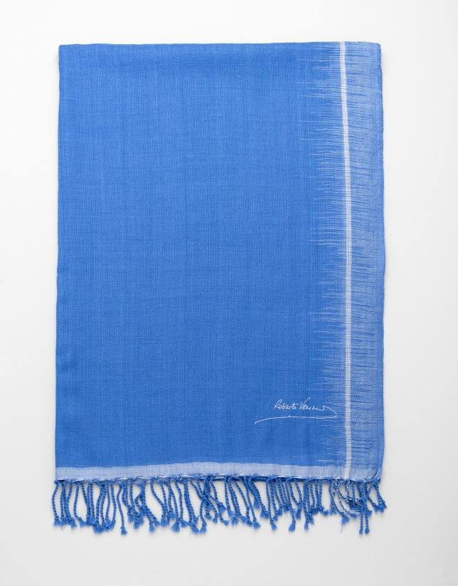 Etole en laine bicolore bleu/gris
