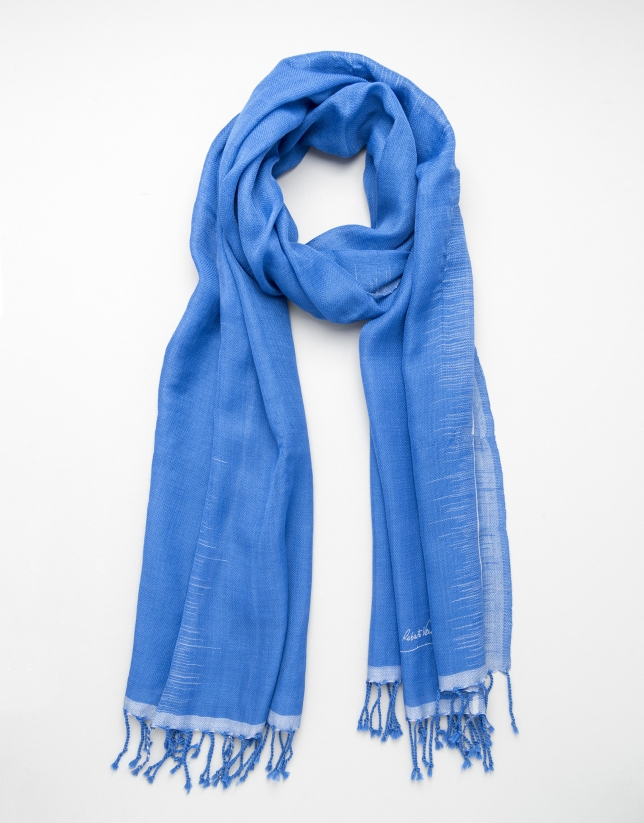 Blue and grey wool scarf