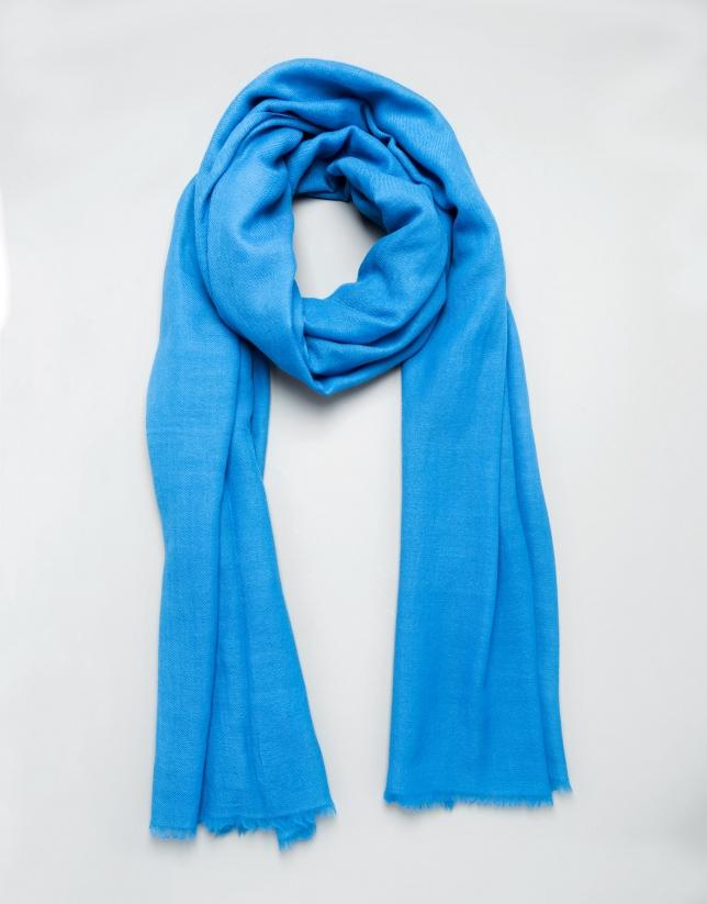 Foulard liso de lana azul