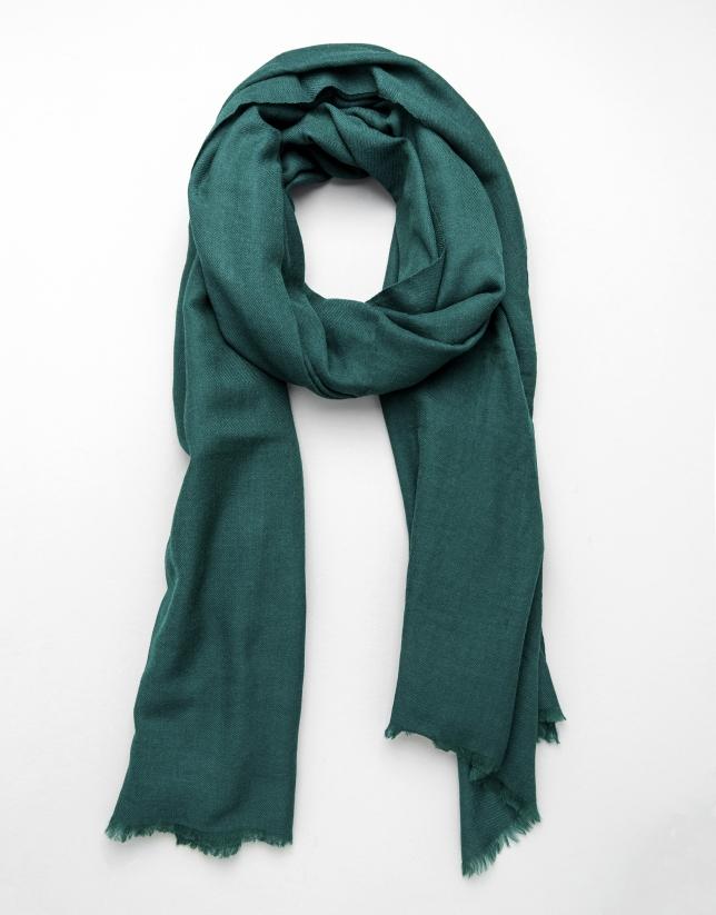 Plain green wool scarf