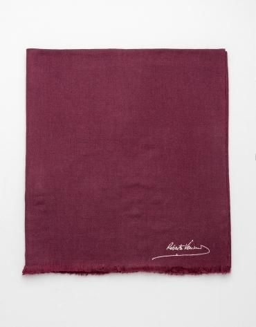 Plain aubergine wool scarf