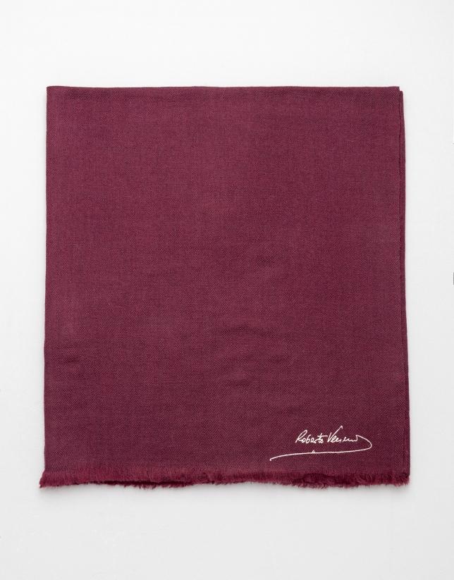 Foulard liso de lana berenjena
