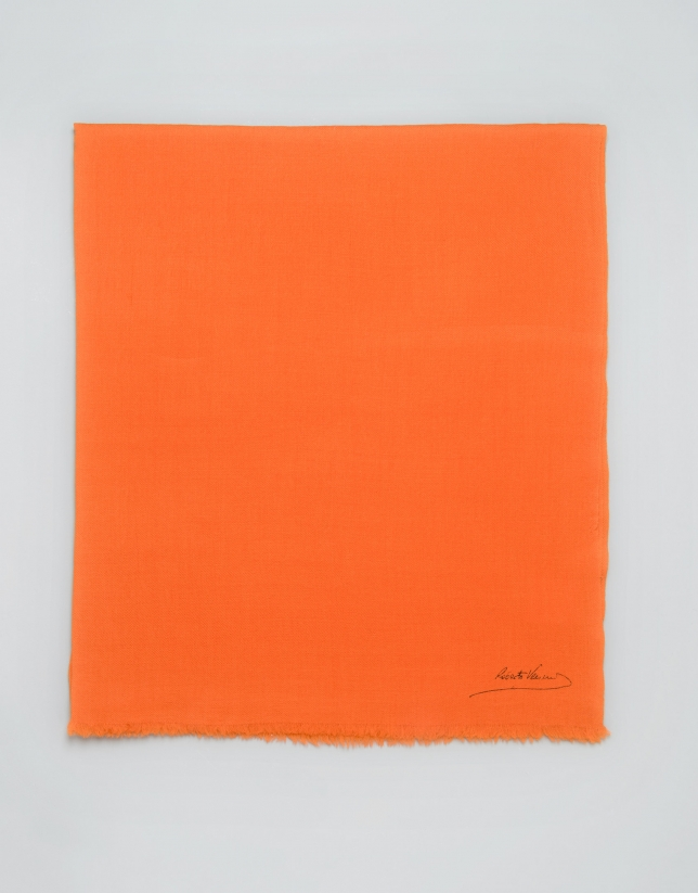 Plain orange wool scarf