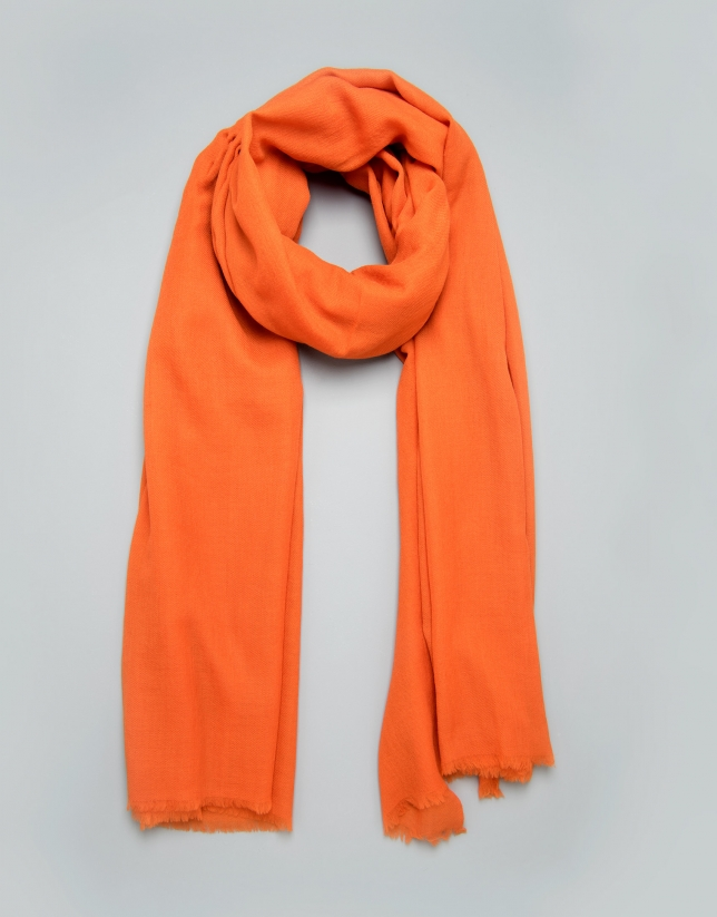 Plain orange wool scarf