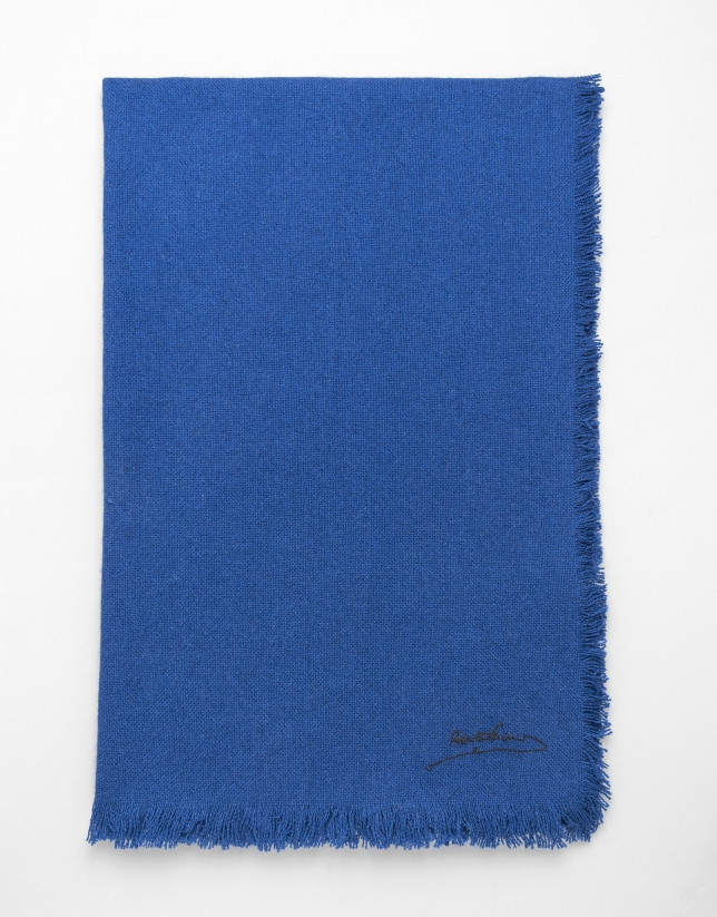 Blue wool, silk and cashmere scarf