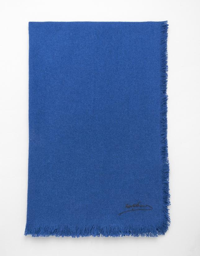 Etole en cachemire, soie et laine bleue
