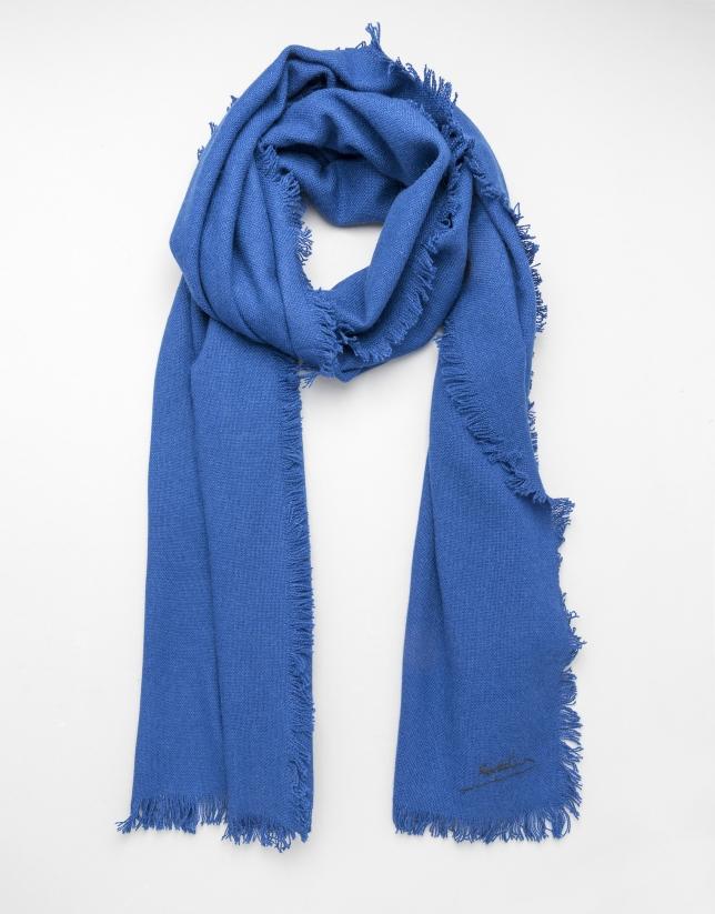 Foulard cashmere, seda y lana azul