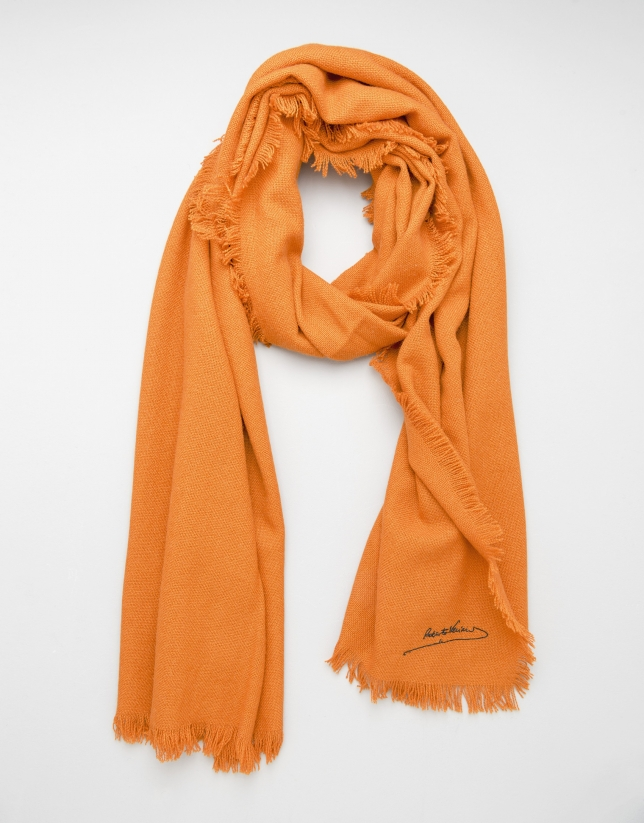 Orange wool, silk and cashmere scarf