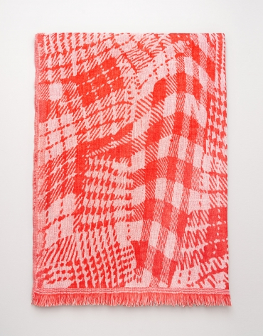 Red and beige geometric print wool scarf