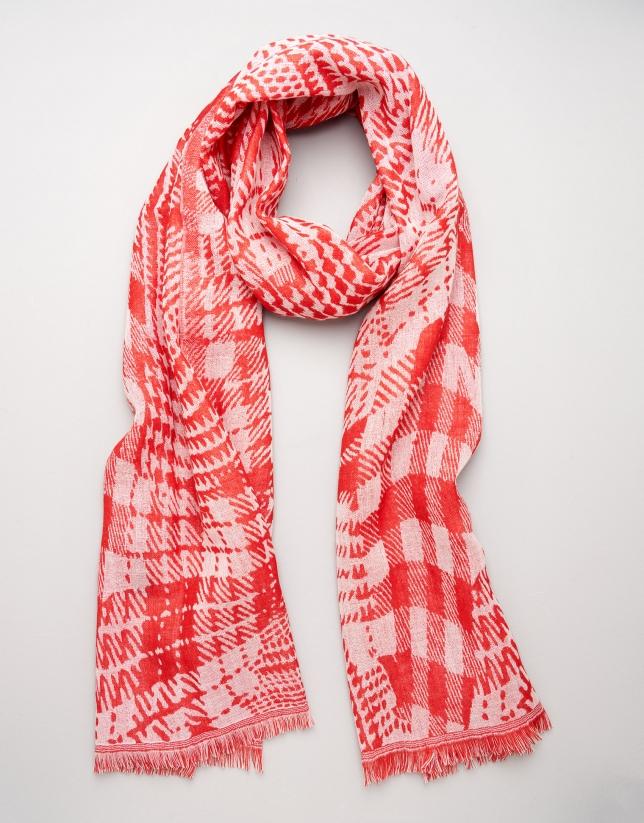 Red and beige geometric print wool scarf