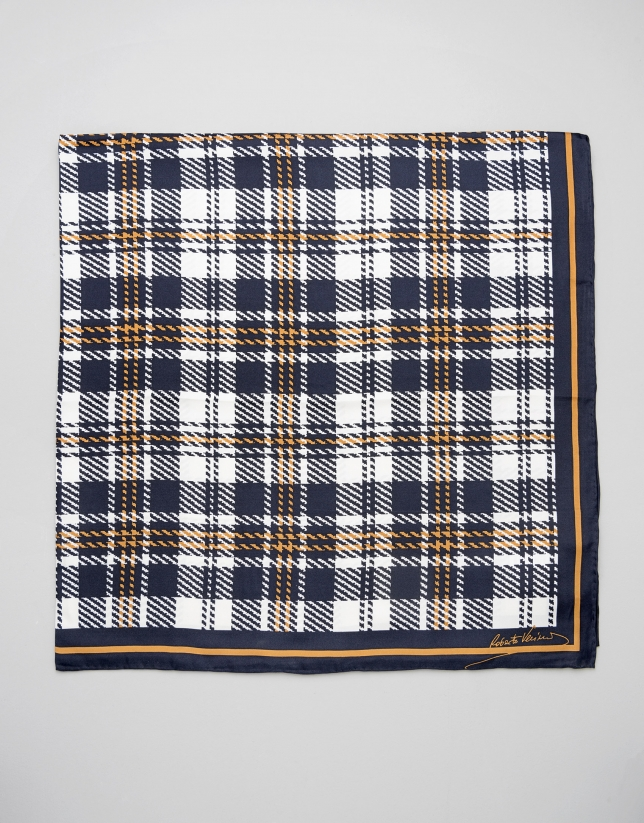 Brown checked silk scarf