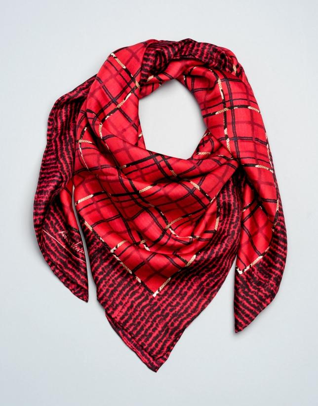 Foulard en soie à carreaux rouges
