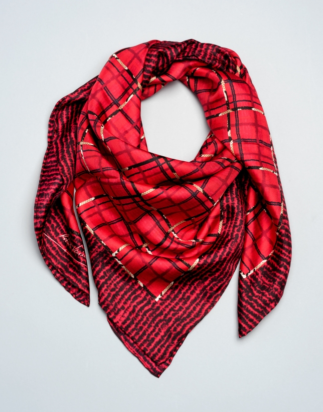 Red checked silk scarf