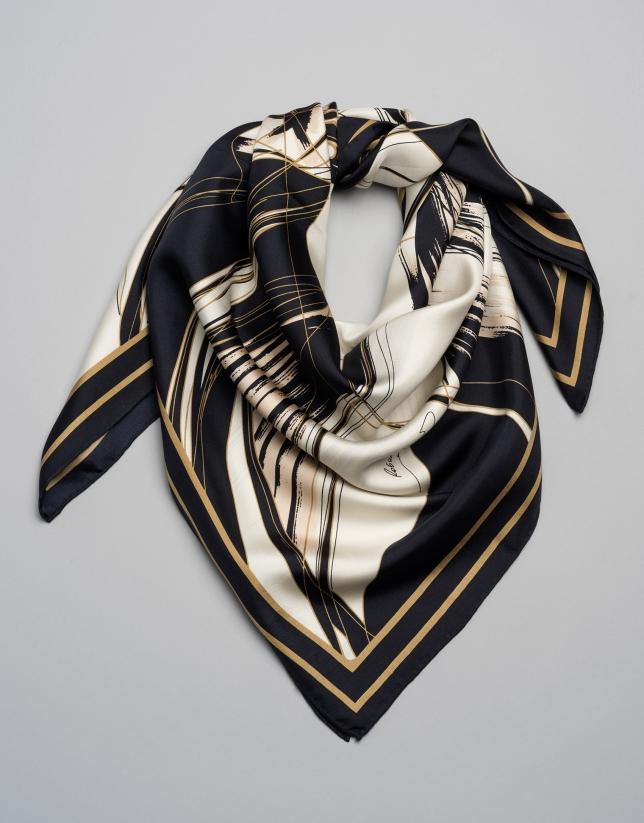 Floral print silk scarf