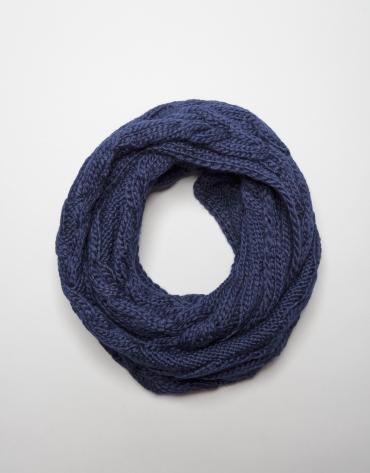 Blue wool tubular tubular scarf