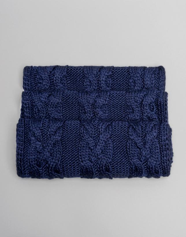 Tour de cou en laine bleu