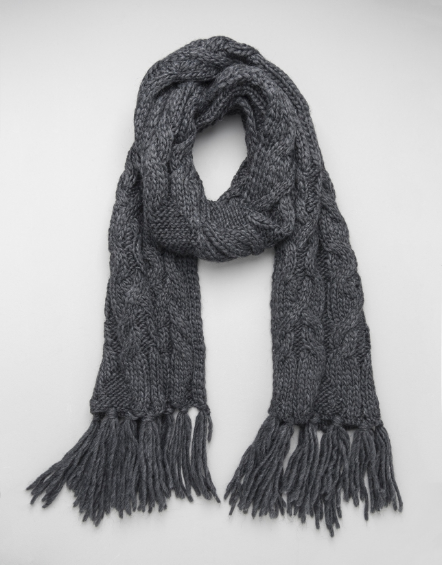 Bufanda de lana gris  Bufanda de lana gris 42140797d65